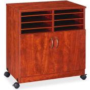 "Lorell® Mobile Machine Stand w/Sorter, 28""x19-3/4""x30-1/2"", Cherry"