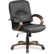 "Lorell® Woodbridge Leather Mid-Back Chair, 26-1/2""W x 28-3/4""D x 42-1/4""H, Black/Cherry"