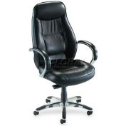 "Lorell® Ridgemoor Executive High-Back Chair, 26-1/2""W x 29""D x 49-1/4""H, Black"