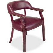"Lorell® Traditional Captain Side Chair, 24""W x 25""D x 30-3/4""H, Burgundy Vinyl"