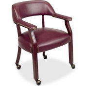"""Lorell® Traditional Captain Side Chair With Casters, 24""""W x 25""""D x 32-3/4""""H, Burgundy Vinyl"""