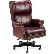 "Lorell® Traditional Executive Swivel Tilt Chair, 29""W x 32""D x 47""H, Oxblood Vinyl Seat"