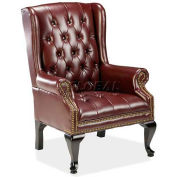 "Lorell® Queen Anne Reception Chair, 29""W x 31""D x 39-1/2""H, Burgundy Vinyl Seat"