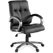 Lorell Low-Back Executive Chair, LLR62622, Bonded Leather, Black