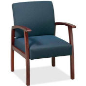 "Lorell® Deluxe Fabric Guest Chair, 24""W x 25""D x 35-1/2""H, Cherry Frame/Midnight Blue Seat"