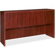 "Lorell® 69000 Series Hutch With Doors, 66""W x 15""D x 36""H, Mahogany"