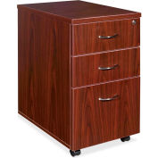 "Lorell® 69000 Series Box/Box/File Mobile Pedestal, 16""W x 22""D x 28-1/4""H, Mahogany"