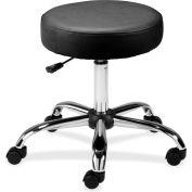 "Lorell® Round Vinyl Stool, 16"" Diameter Seat, Black"