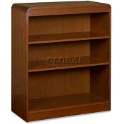 "Lorell® 3-Shelf Radius Hardwood Veneer Bookcase, 36""W x 12""D x 36""H, Cherry"