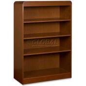 "Lorell® 4-Shelf Radius Hardwood Veneer Bookcase, 36""W x 12""D x 48""H, Cherry"