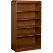 "Lorell® 5-Shelf Radius Hardwood Veneer Bookcase, 36""W x 12""D x 60""H, Cherry"