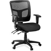"Lorell® Mid-Back Managerial Chair, 25-1/4""W x 23-1/2""D x 40-1/2""H, Black Fabric Seat/Mesh Back"