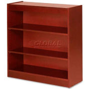 "Lorell® 3-Shelf Panel End Hardwood Veneer Bookcase, 36""W x 12""D x 36""H, Cherry"