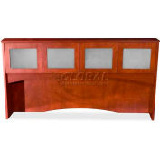 "Lorell® 9000 Series Overhead Storage Hutch With Glass Doors, 72""W x 41""D x 16""H, Mahogany"