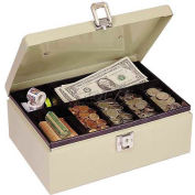 "MMF SteelMaster Cash Box w/Latch Lock 221612003, 11""W x 7-3/4""D x 4""H, Sand"