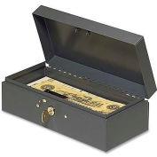 "MMF Steelmaster Cash Box W/Lock, MMF2212CBGY, 10.3""W x 4.4""H x 2.9""H, Gray"