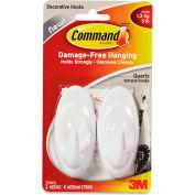 3M Command™ Medium Adhesive Hooks, Holds 3 lb., 2/PK, White