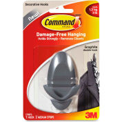 3M Command™ Medium Double Hook, Adhesive Strips,3lb Capacity, Graphite