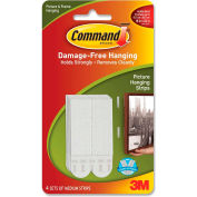 3M Command™ Hanging Strips, f/Med. Picture, Holds 3 lbs., 4 Sets/PK, White