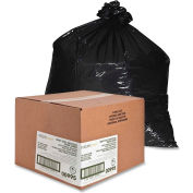 Nature Saver Recycled Heavy-Duty Black Trash Liners - 60 Gallon, 2.00 Mil