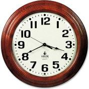 "SKILCRAFT 16"" Hardwood Wall Clock, Mahogany"