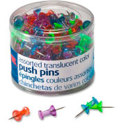 """OIC Translucent Push Pins - 0.50"""" Length - 200 / Pack - Assorted"""