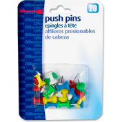 "OIC Plastic Precision Push Pins - 0.50"" Length - 20 / Pack - Assorted"