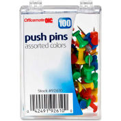 OIC Plastic Precision Push Pins - 100 / Box - Assorted