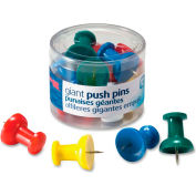 "OIC Giant Push Pin - 1.50"" Length - 12 / Pack - Assorted"