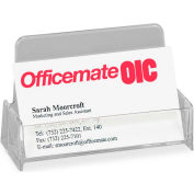 Officemate® Broad Base Business Card Holder, Plastic, Clear
