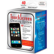 Read Right® Touch Screen Cleaning System, RR44007, 40 Pre-Moistened/40 Lint-Free Wipes