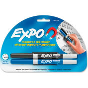 Expo Magnetic Clip Eraser w/Markers - Assorted, 3/Pack