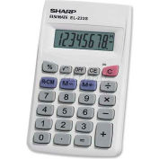 "Sharp® 8-Digit Pocket Calculator, EL233SB, 2-1/4"" X 3-3/4"" X 1/2"", Grey/White"