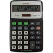"Sharp® 12-Digit Calculator, ELR287BBK, 4-1/3"" X 6-7/8"" X 3/4"", Black/Silver"