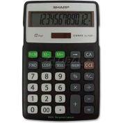 "Sharp® 12-Digit Calculator, ELR287BBK, 4-1/3"" X 6-7/8"" X 3/4"", Black/Silver"