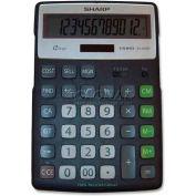 "Sharp® 12-Digit Calculator, ELR297BBK, Semi-Desktop, 5-1/2"" X 7-3/4"" X 7/8"", Black/Silver"
