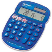 "Sharp® 10-Digit Calculator, ELS25BBL, Drill function, 3-1/3"" X 5"" X 3/4"", Blue/White"