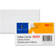 "Index Card, Ruled, 8 Point, 75 lb., 3""x5"", 100/Pk, White"