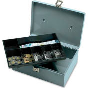 "Sparco Steel Cash Box 15501 w/7 Compartment Tray Latch Lock, 11""W x 7-13/16""D  x 4""H, Gray"