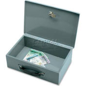 "Sparco Steel Insulated Cash Box 15502 Keyed Lock, 12-13/16""W x 8-5/16""D x 3-13/16""H, Gray"