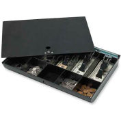 "Sparco Locking Cover Money Tray 15505 w/10 Compartment Tray,  16""W x 11""D x 2-5/16""H, Black"