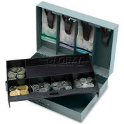 "Sparco Steel  Cash Box 15508 w/6 Compartment Tray Combo Lock, 11-1/2""W x 7-13/16""D x 3-5/16""H, Gray"