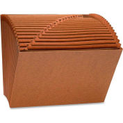 "Accordion Files, No-Flap, 21 Pockets, A-Z, Letter, 12""x10"", Brown"