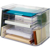 """Jumbo Desk Sorter, Letter, 18-1/8""""x10""""x12-1/4"""", Clear"""