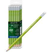 Staedtler WOPEX Wood Pencil, #2 Pencil Grade, Black Lead, Green Barrel, 24/Pk