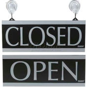 "U.S. Stamp & Sign Open/Closed Sign, 4246, W/Suction Cups, 5"" X 13"", Black/Silver"