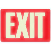 "U.S. Stamp & Sign Glow In The Dark Sign, 4792, EXIT, 12""W X 8""H, Red/White"