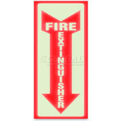 "U.S. Stamp & Sign Glow In The Dark ""Fire Extinguisher"" Sign, 4793, 4"" X 13"", Red/White"