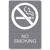 "U.S. Stamp & Sign ADA Sign, 4813, NO SMOKING, Adhesive, 6""W X 9""H, Grey/White"