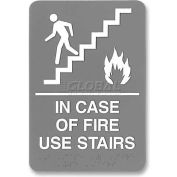 "U.S. Stamp & Sign ADA Sign, 5400, FIRE USE STAIRS, Adhesive, 6""W X 9""H, Grey/White"